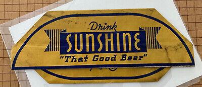 Vintage Sunshine Beer Vendor Advertising Paper Hat FINE Union Bag Woolworth NYC