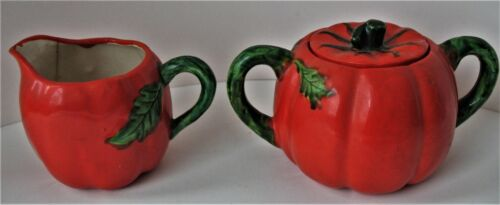 Vintage Occupied Japan Tomato Sugar and Creamer Set
