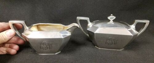Antique DURGIN Sterling Silver Creamer & Sugar Set