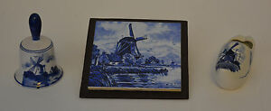 Delft Blue Clog, Tile and Bell.