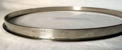 """SLINGERLAND RADIO KING 13"""" TOM HOOP NICKEL NOB 1930s 1940s 1950s ENGRAVED 1of2"""