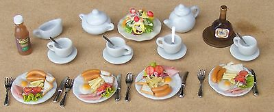 1:12 Four Place Setting For A Brunch Meal Dolls House Miniature Food Accessory