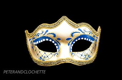 Mask Wolf of Venice Colombine Tip Blue Gold Prom Evening 327 V28