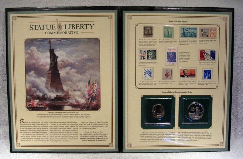 Statue of Liberty Folio - Postal Commemorative  Silver Dollar & Stamp Collection