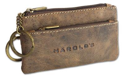 Vintage Rind Leder Schlüsseletui Schlüsseltasche Schlüsselmäppchen Harold`s