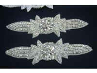 Rhinestone Applique Crystal Beaded Sew On for Clothing Wedding Belts Girl Hair DIY