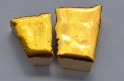 2 St. Bruchmosaik mit Goldbeschichtung je 1 bis 4cm groß (meistens 2-3cm) ca.12g