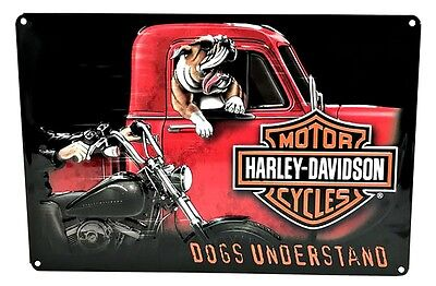 Harley-Davidson® Bar & Shield Bull-Dog Embossed Tin Sign (16.5x10.5) 2011241