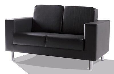 2-Sitzer POLSTERSOFA SOFA COUCH SUSI Kunstleder Schwarz Füße Metall Chromfarben