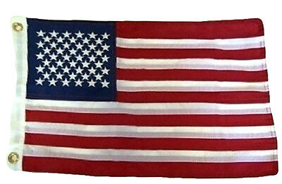 "12x18 Embroidered USA Flag 210D Nylon 12""x18"" Boat Bike Car Flag MADE IN USA"