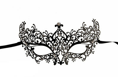 Mask from Venice Elf Wolf Venetian Lace Metal Black and Rhinestones 315 V64