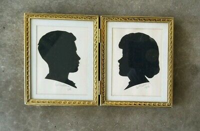 Pair of Husband & Wife Vintage Silhouettes Gold Frame 1964