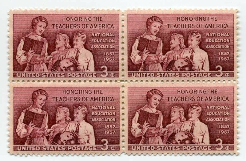 Teachers Honored on 64 Year Old Mint Vintage US Postage Stamp Block from 1957