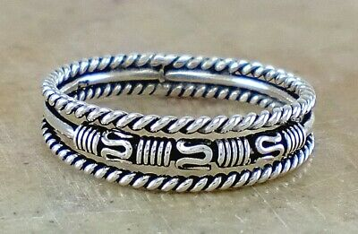 EXOTIC 925 STERLING SILVER BALI STACK BAND RING size 10 style# r2708