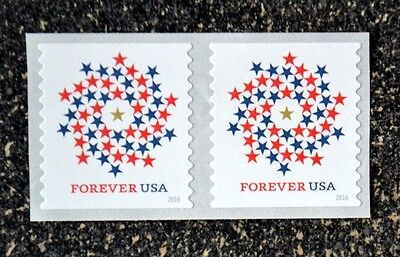 2016USA #5130 Forever Patriotic Spiral - Coil Pair  Mint NH  self adhesive