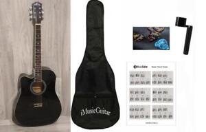 Left handed Acoustic Guitar with Package Black 41 inch Full Size Cutaway iMusic810LF