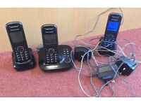 PANASONIC KX-TG5521E Cordless Phone Black with Answering Machine Triple Handset