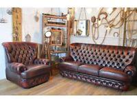 Thomas Lloyd Chesterfield Vintage Leather 3 Seater Sofa & Armchair Ox Blood