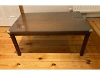 Vintage Wooden Coffee Table With Glass Top