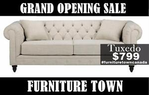 Grand opening sale. Tuxedo Canadian made sofa $799