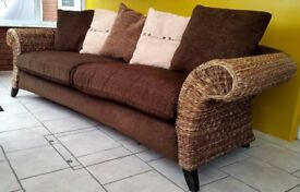 2 x WICKER SOFA/SETTEE PLUS MATCHING POUFFE