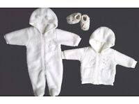 fur pram/snow suit, coat and booties