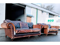 Wade Additions Cow hide mallard duck feather distressed chesterfield style leather sofas