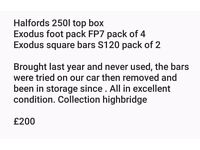 Halfords roof box and exodus feet and bars in like new condition