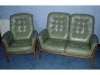 ERCOL SUITE 2 Seater Sofa & 1 Armchair SAVILLE RANGE Pale Green Leather Settee VGC