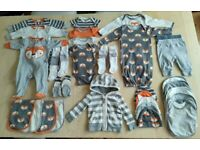 36 Piece Matching Fox Print Baby Clothes Bundle Set 0-3 Months