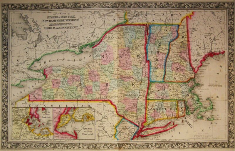 1860 Genuine Antique Map of New York, Massachusetts, Vermont, etc. A Mitchell