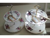 2 Two-Tier Handmade China Cake Stands
