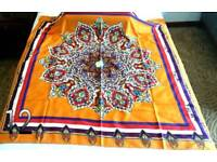 Exclusive silk scarf orange white brown red blue Mandala