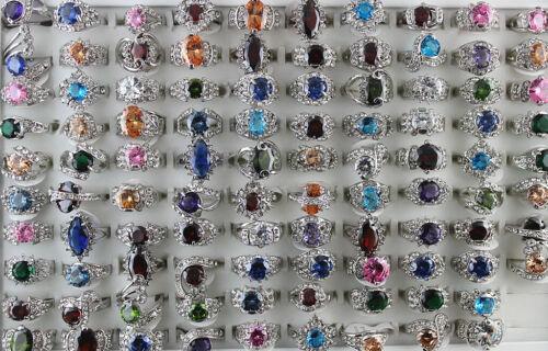 Bulk Mixed Lots 30pcs Rhinestone CZ Silver P Fashion Colorful Women