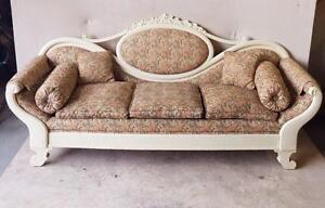 Antique White Solid Wood Cameo Back Federal Style Settee