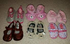 0-3 month baby girl shoes x 6