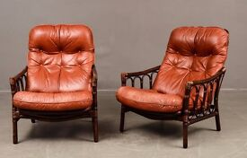 Danish vintage two brown leather armchairs produced by DUX (0ne only!!)
