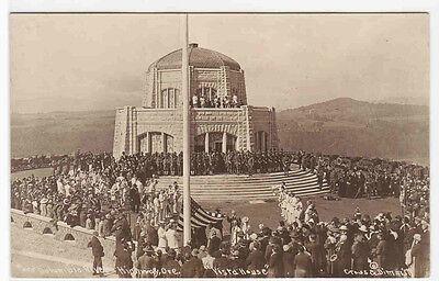 Stars   Stripes Flag Raising Vista House Columbia River Highway Or Rppc Postcard