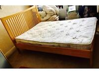 SOLID WOODEN DOUBLE FRAMED BED & DOUBLE MATTRESS - £45 ONO QUICK SALE