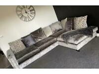 Dfs crushed velvet corner sofa