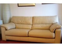 Cream / ivory / ecru / pale sand, leather sofa, large 2 seater, very good condition
