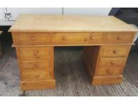 SOLID PINE OFFICE DESK 9 DRAWERS VGC