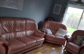 Leather Salmon Sofa / Couch 3 piece suite £180