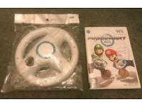 Nintendo Wii mario kart game and steering wheel