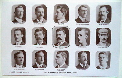 AUSTRALIA TO ENGLAND 1905 PHOTOGRAPHIC CRICKET POSTCARD