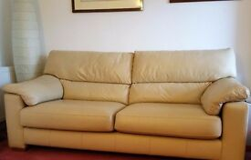 Large 2 seater leather sofa - cream / ivory / ecru / pale sand * Very good condition *