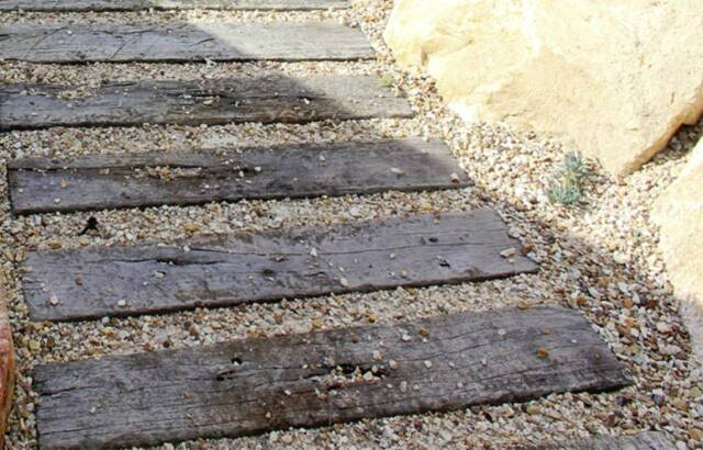 Concrete Pavers Stepping Stones Sleeper Look Path Wood