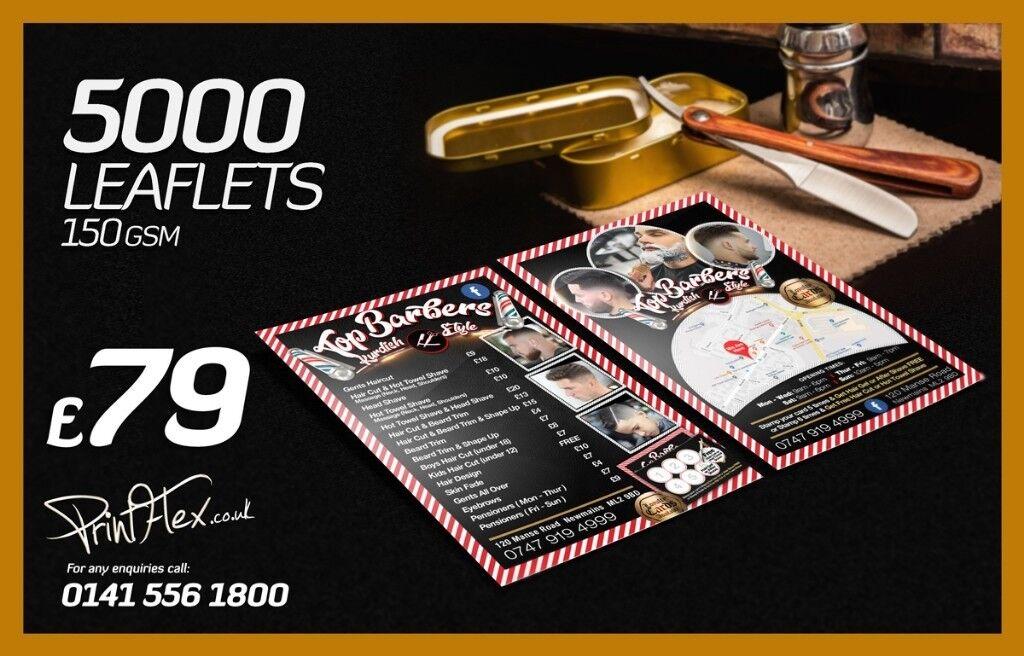 5000 leaflets print 79 5000 folded menus 169 shop signs banners