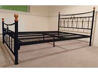 BLACK WROUGHT IRON DOUBLE BED FRAME FRENCH ANTIQUE VINTAGE STYLE FOUR POST WITH WOOD FINIALS ORNATE