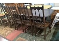 Rare Vintage Ercol Solid Elm Oak Dining Chairs x4 with Four Original Seat Pads (Mid Century Quaker)